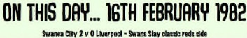 Vetch Field Memories: Swansea City v Liverpool (February 1982) – Swans Slay Classic Reds Side in Title Clash
