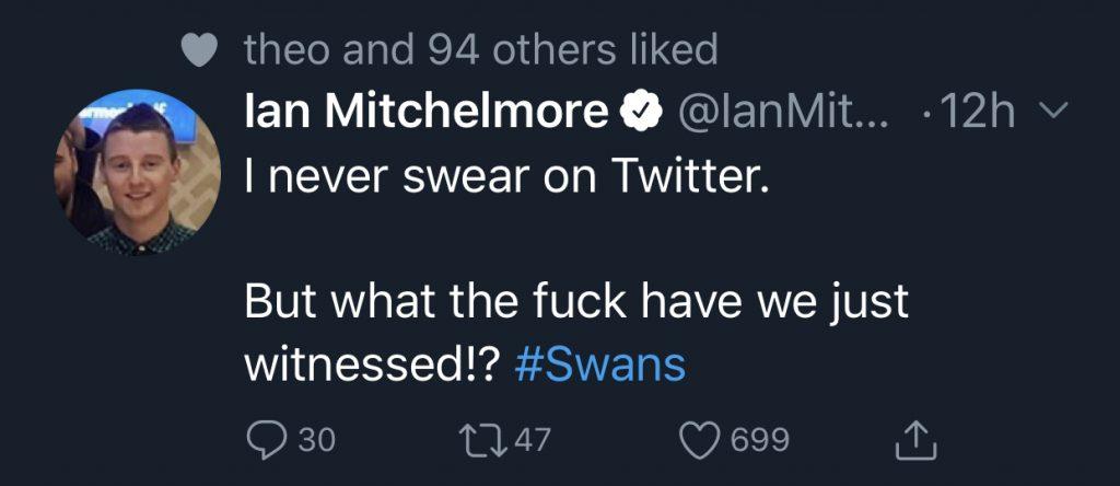 Ian Mitchelmore's Tweet